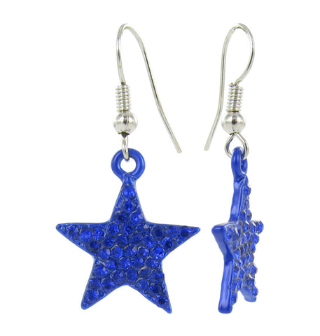 Crystal Star Fish Hook Earrings - Royal Blue