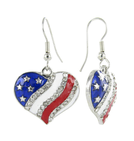 American Flag Heart Rhinestone Fish Hook Earrings