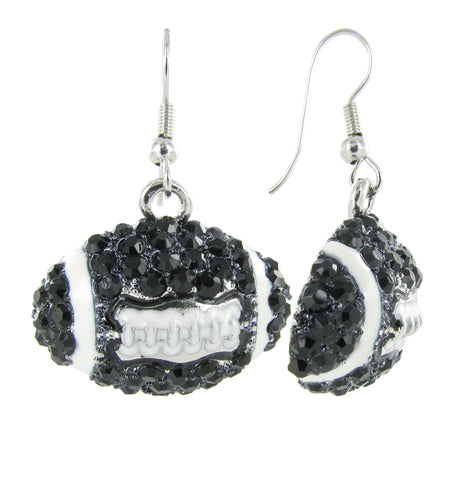 Dome Football Fish Hook Earrings - Black and White