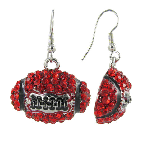 Dome Football Fish Hook Earrings - Red and Black