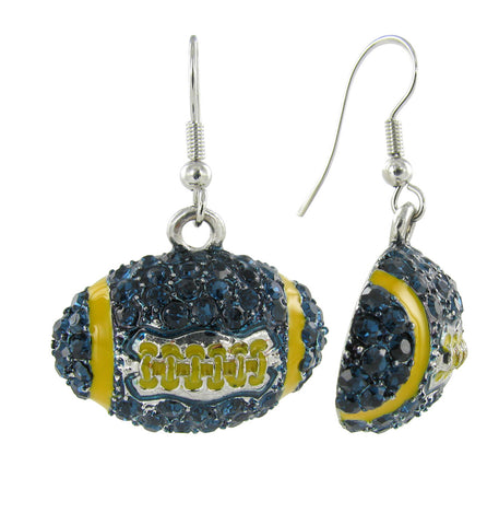Dome Football Fish Hook Earrings - Navy and Gold