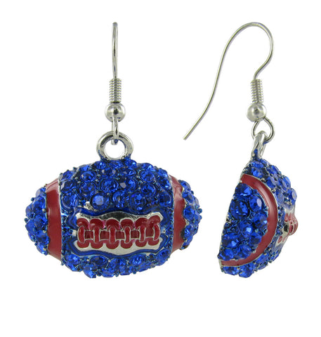 Dome Football Fish Hook Earrings - Royal Blue and Red