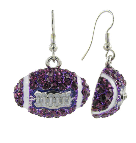 Dome Football Fish Hook Earrings - Purple and White