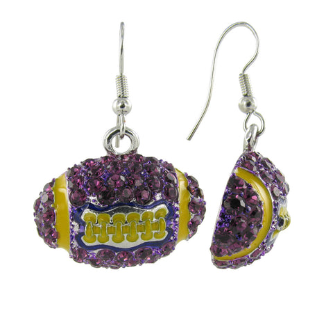 Dome Football Fish Hook Earrings - Purple and Gold