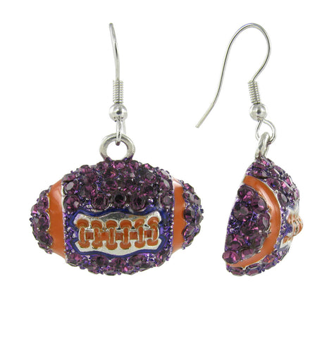 Dome Football Fish Hook Earrings - Purple and Orange