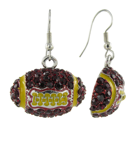 Dome Football Fish Hook Earrings - Dark Red and Gold