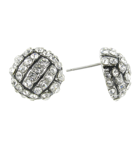 Volleyball Rhinestone Stud Earrings with Black Enamel Stripes