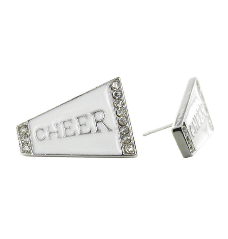 Flat Cheer Megaphone Stud Earrings - White