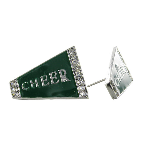 Flat Cheer Megaphone Stud Earrings - Dark Green