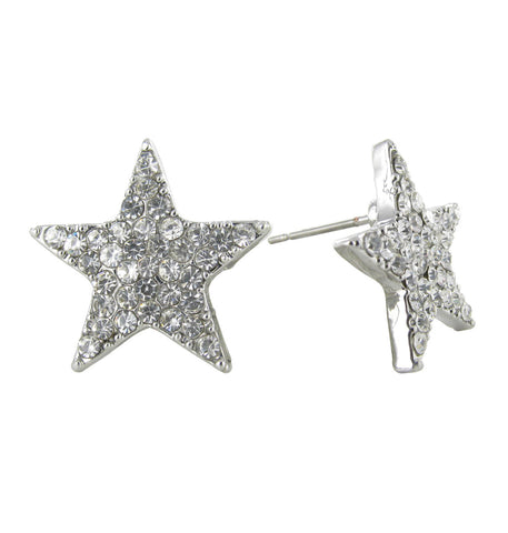 Crystal Star Stud Earrings - Clear