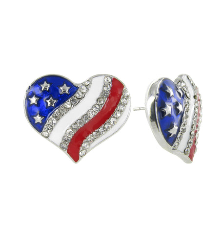 American Flag Heart Rhinestone Stud Earrings