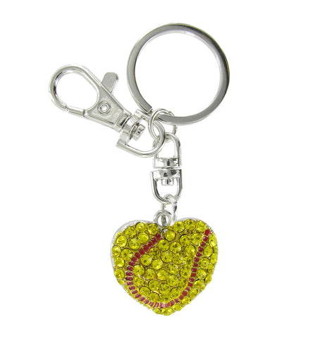 Love Softball Large Heart Shaped Key Chain