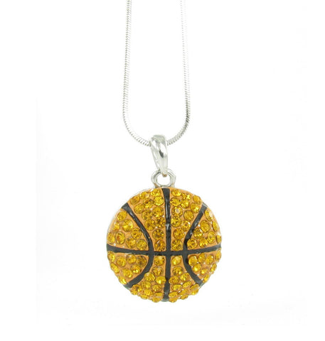 Pitted Half Basketball Pendant Necklace