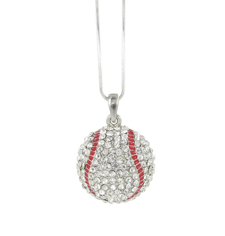 Large Dome Baseball Pendant Necklace