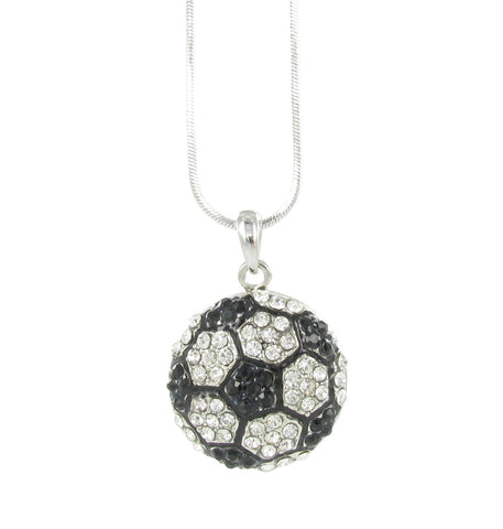 Pitted Half Soccer Ball Rhinestone Necklace