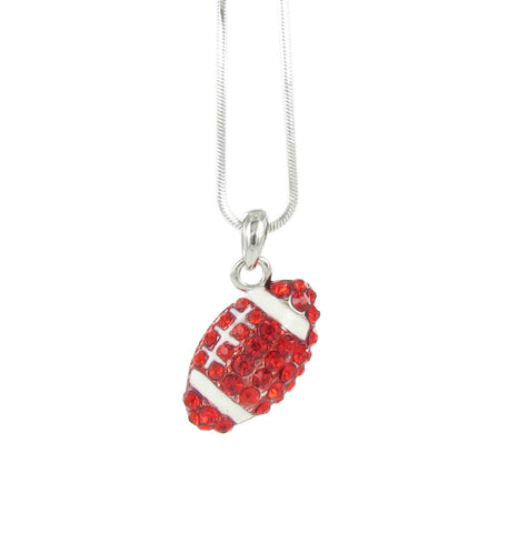 Small Football Pendant Necklace with Red Crystals