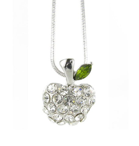 Clear Pavé Apple Pendant Necklace