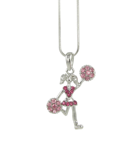 Cheer Girl Pendant Necklace - Pink
