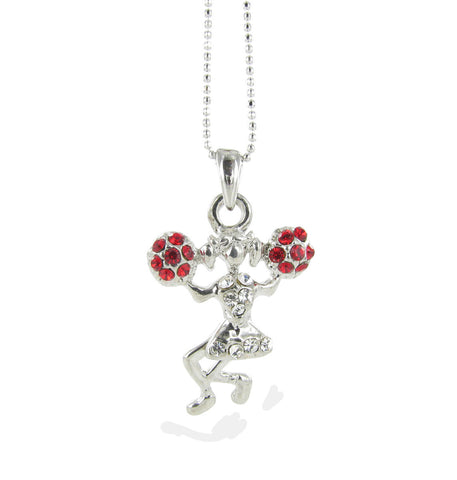 Mini Cheerleader Pendant Necklace - Red