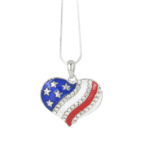 American Flag Heart Rhinestone Pendant Necklace