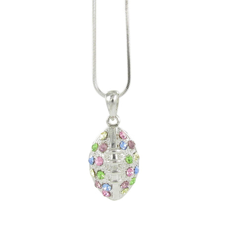 3D Light Multicolored Football Charm Pendant Necklace