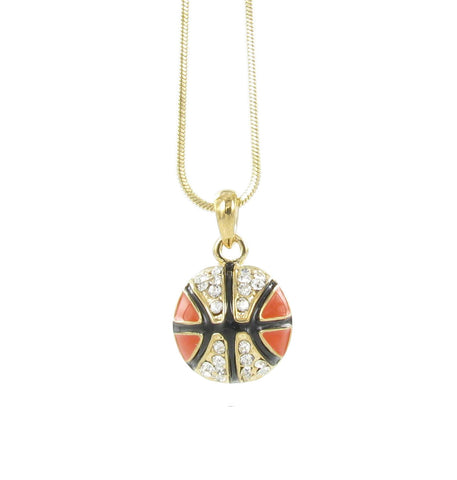 3D Gold Basketball Pendant Necklace with Clear Crystals and Orange Enamel