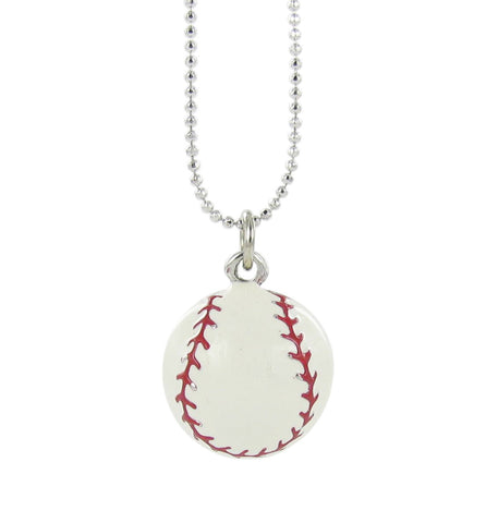 3D White Enamel Baseball Pendant Necklace