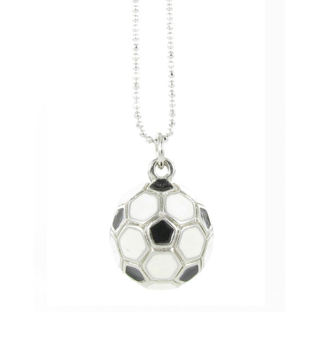 3D Enamel Soccer Ball Pendant Necklace