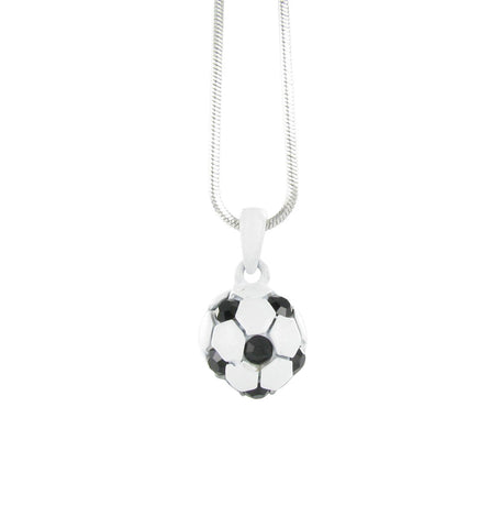 White Mini 3D Soccer Ball Necklace with Black Crystals