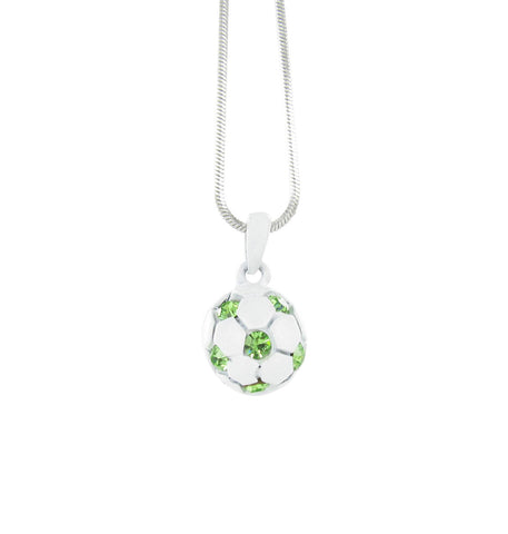 White Mini 3D Soccer Ball Necklace with Green Crystals
