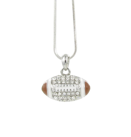 3D Football Pendant Necklace with Clear Crystals and Dark Topaz Enamel