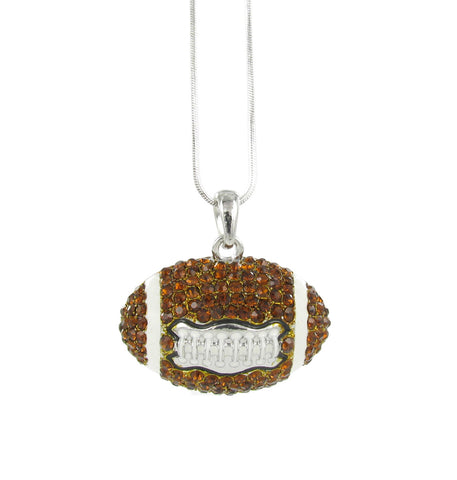 Large Dome Football Pendant Necklace