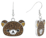 Pave Rilakkuma Fish Hook Earrings