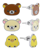 3 Pair Rilakkuma and Friends Stud Earrings