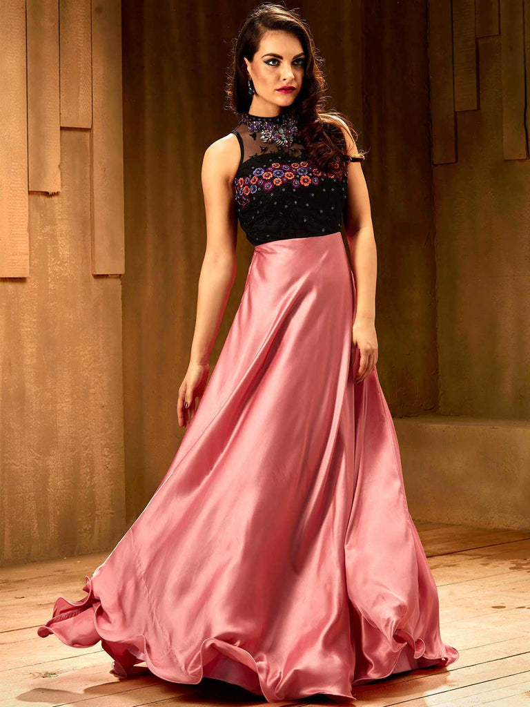 Rose Pink Floor Length Gown – Khwaab