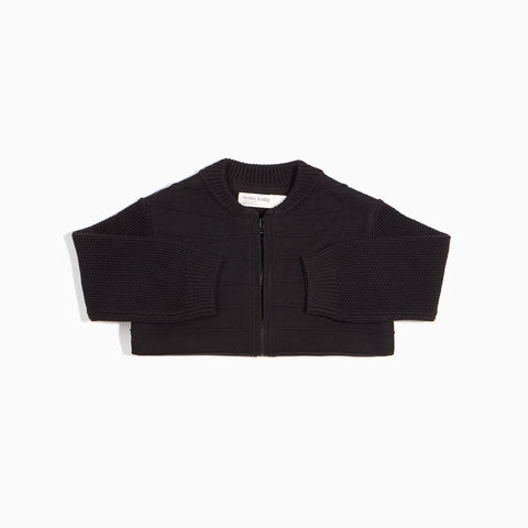 Solid Black Sweater Bomber Jacket