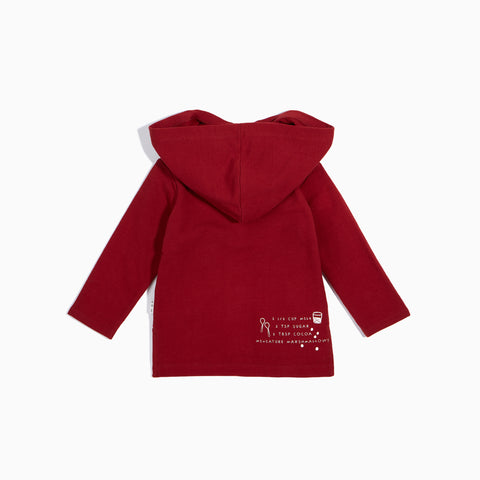 Brick Red ''Hot Chocolate'' Hooded Long Sleeve Top