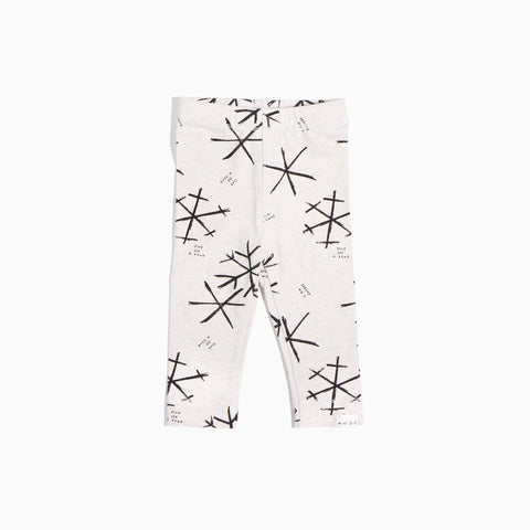 Heather Beige Snowflakes Leggings