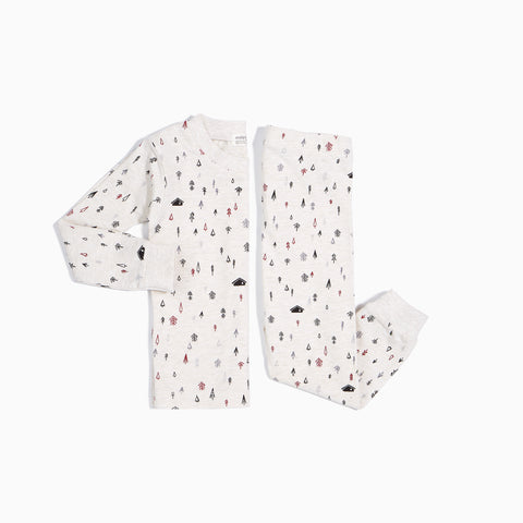 Heather Beige Pine Trees Pajama Set (2 pcs.)