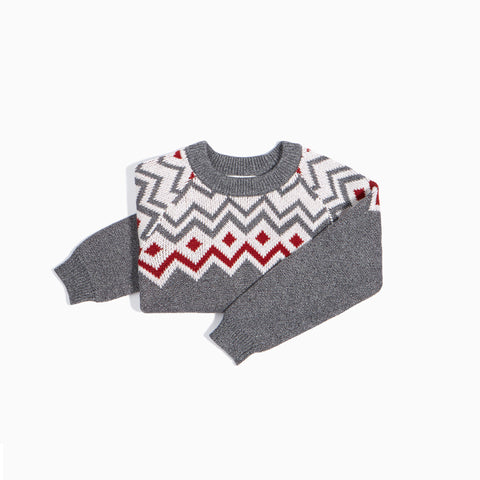 Heather Grey Fair Isle Knit Sweater