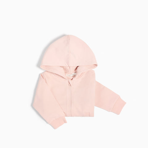 """Miles Basic"" Light Pink Zip Up Hoodie"