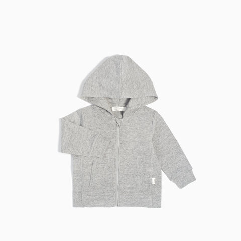"""Miles Basic"" Heather Grey Zip Up Hoodie"