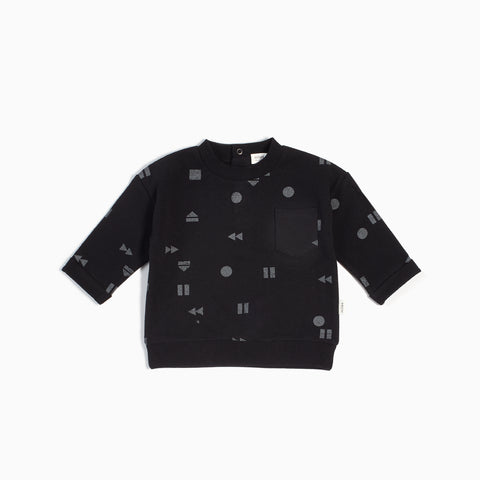 "Black ""Play/Replay"" Crew Neck Sweater"