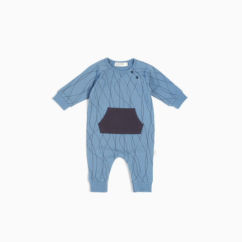 "Dusty Blue ""Ski Tracks""  Playsuit"