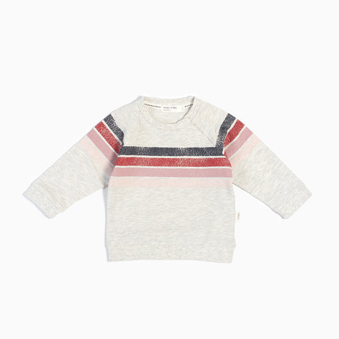 Light Heather Grey & Pink Striped Sweater