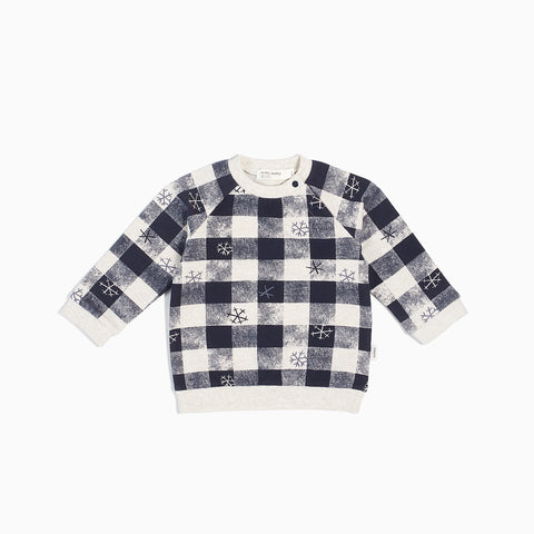 Navy & Beige Plaid Long Sleeve Top