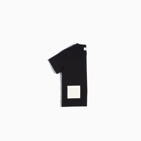 """Miles Basic"" Black T-Shirt with Contrasting Patch Pocket"