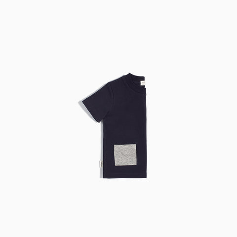 """Miles Basic"" Navy T-Shirt with Contrasting Patch Pocket"