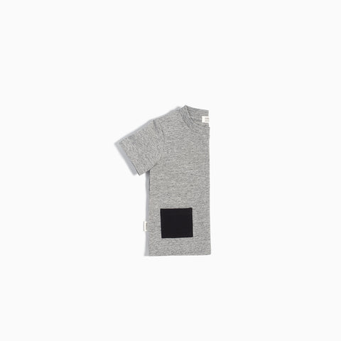 """Miles Basic"" Heather Grey T-Shirt with Contrasting Patch Pocket"