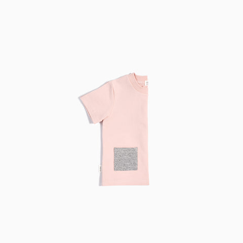 """Miles Basic"" Light Pink T-Shirt with Contrasting Patch Pocket"